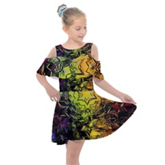 Background Star Abstract Colorful Kids  Shoulder Cutout Chiffon Dress