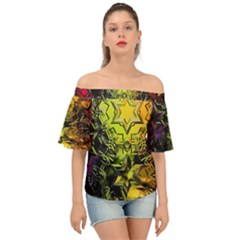 Background Star Abstract Colorful Off Shoulder Short Sleeve Top