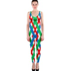 Geometric Line Rainbow One Piece Catsuit by HermanTelo