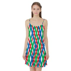 Geometric Line Rainbow Satin Night Slip by HermanTelo