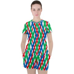 Geometric Line Rainbow Women s Tee And Shorts Set