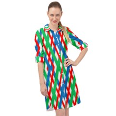 Geometric Line Rainbow Long Sleeve Mini Shirt Dress by HermanTelo