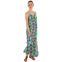Geometric Line Rainbow Cami Maxi Ruffle Chiffon Dress