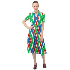 Geometric Line Rainbow Keyhole Neckline Chiffon Dress