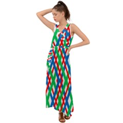 Geometric Line Rainbow V Neck Chiffon Maxi Dress