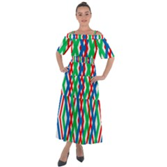 Geometric Line Rainbow Shoulder Straps Boho Maxi Dress  by HermanTelo
