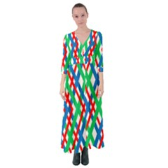 Geometric Line Rainbow Button Up Maxi Dress by HermanTelo