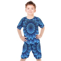 Mandala Background Texture Kids  Tee And Shorts Set by HermanTelo