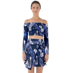 Structure Blue Background Off Shoulder Top With Skirt Set