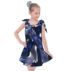 Structure Blue Background Kids  Tie Up Tunic Dress