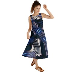 Structure Blue Background Summer Maxi Dress