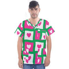 Pink Love Valentine Men s V Neck Scrub Top