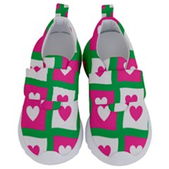 Pink Love Valentine Kids  Velcro No Lace Shoes by Mariart