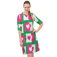 Pink Love Valentine Long Sleeve Mini Shirt Dress by Mariart