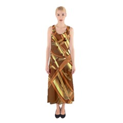 Gold Background Form Color Sleeveless Maxi Dress