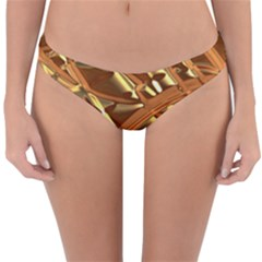 Gold Background Form Color Reversible Hipster Bikini Bottoms by Alisyart
