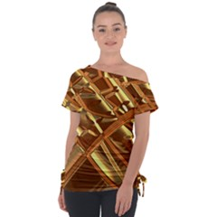 Gold Background Form Color Tie Up Tee by Alisyart