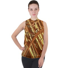 Gold Background Form Color Mock Neck Chiffon Sleeveless Top