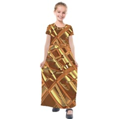 Gold Background Form Color Kids  Short Sleeve Maxi Dress by Alisyart