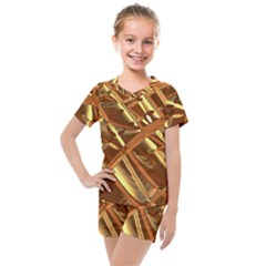 Gold Background Form Color Kids  Mesh Tee And Shorts Set by Alisyart