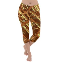 Gold Background Form Color Lightweight Velour Capri Yoga Leggings