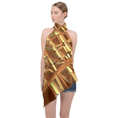 Gold Background Form Color Halter Asymmetric Satin Top by Alisyart