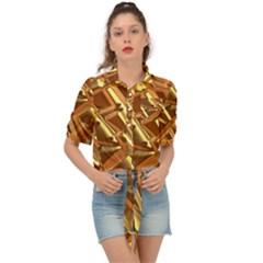 Gold Background Form Color Tie Front Shirt  by Alisyart