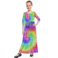Watercolor Painted Kids  Quarter Sleeve Maxi Dress