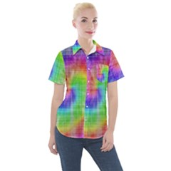 Watercolor Painted Women s Short Sleeve Pocket Shirt