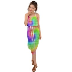 Watercolor Painted Waist Tie Cover Up Chiffon Dress