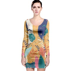 Tropical Pattern Long Sleeve Bodycon Dress