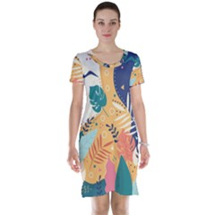 Tropical Pattern Short Sleeve Nightdress