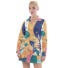 Tropical Pattern Women s Long Sleeve Casual Dress