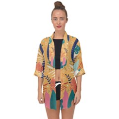 Tropical Pattern Open Front Chiffon Kimono by Valentinaart