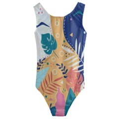 Tropical Pattern Kids  Cut Out Back One Piece Swimsuit