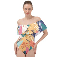 Tropical Pattern Off Shoulder Velour Bodysuit  by Valentinaart