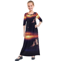 Space Star Galaxies Universe Kids  Quarter Sleeve Maxi Dress