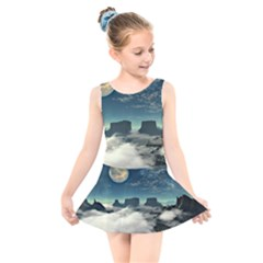 Lunar Landscape Space Mountains Kids  Skater Dress Swimsuit