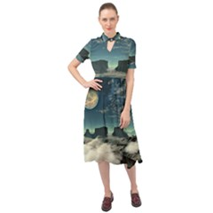 Lunar Landscape Space Mountains Keyhole Neckline Chiffon Dress by Simbadda