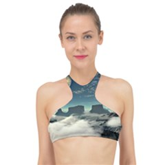 Lunar Landscape Space Mountains High Neck Bikini Top