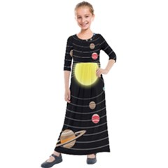 Solar System Planets Sun Space Kids  Quarter Sleeve Maxi Dress by Simbadda