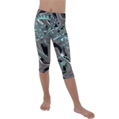 Gears Machine Machines Kids  Lightweight Velour Capri Leggings  by Bajindul
