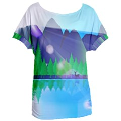 Forest Landscape Pine Trees Forest Women s Oversized Tee by Simbadda