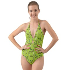 Fruit Apple Green Halter Cut Out One Piece Swimsuit
