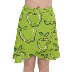 Fruit Apple Green Chiffon Wrap Front Skirt