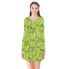Fruit Apple Green Long Sleeve V Neck Flare Dress by HermanTelo