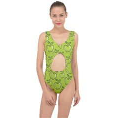 Fruit Apple Green Center Cut Out Swimsuit