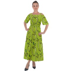 Fruit Apple Green Shoulder Straps Boho Maxi Dress