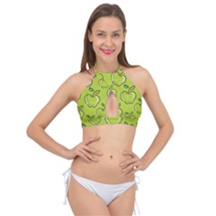 Fruit Apple Green Cross Front Halter Bikini Top
