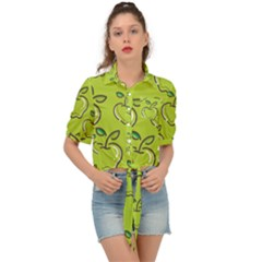 Fruit Apple Green Tie Front Shirt